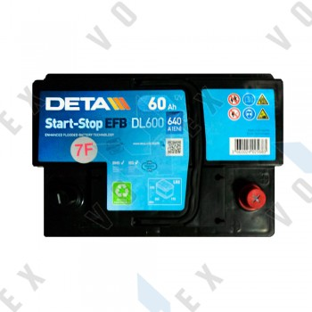 Аккумулятор Deta AGM Start-Stop 60Ah R+ 680A