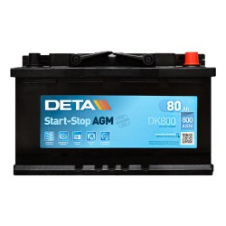 Аккумулятор Deta AGM Start-Stop 80Ah R+ 800A