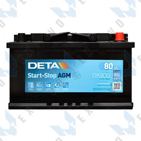 Аккумулятор Deta AGM Start-Stop 80Ah R+ 800A
