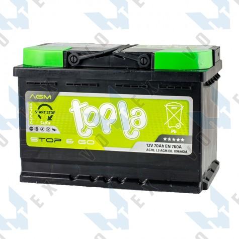 Аккумулятор Topla Start-Stop AGM 70Ah R+ 760A