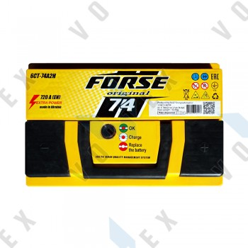 Аккумулятор Forse Original 74Ah R+ 720A (низкобазовый)